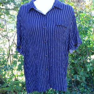 Navy Pinstripe Short Sleeve Blouse 2X